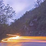 Automobile Traffic Long Exposure At Dusk In Pisgah National Park Art Print