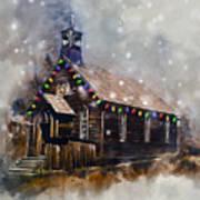 Church At Christmas Art Print