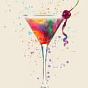 Cocktail Drinks Glass Watercolor Art Print