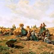 Peasants Lunching In A Field Daniel Ridgway Knight Art Print