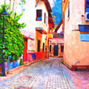 A Digitally Constructed Painting Of Cobbled Back Streets Of Kaleici In Antalya Turkey Art Print