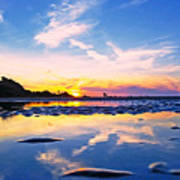Beach Skyset Sunset On A Perranporth Beach Cornwall Art Print