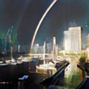 Docklands Double Rainbow Art Print