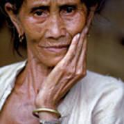 Elderly Woman In Laos Art Print