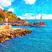 A Digitally Constructed Painting Of Kaleici Harbour In Antalya Turkey Art Print