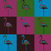 9 Flamingos Art Print