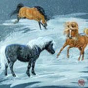 #9 - Ponies In Snow Art Print