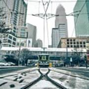 Streetcar Waiting For Passengers In Snowstrom In Uptown Charlott Art Print