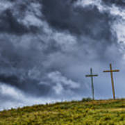 Three Crosses On Hill Art Print