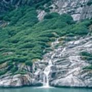 Waterfall In Tracy Arm Fjord, Alaska Art Print