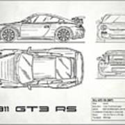 911 Gt3 Rs Blueprint - White Art Print