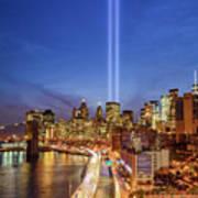 911 Tribute In Light In Nyc II Art Print