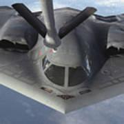 A B-2 Spirit Bomber Prepares To Refuel Art Print