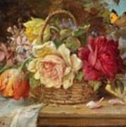 A Basket Of Flowers And A Butterfly Hans Zatzka Art Print