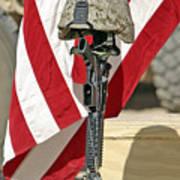 A Battlefield Memorial Cross Rifle Art Print by Stocktrek Images