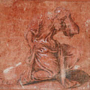 A Bearded Saint Kneeling Art Print