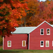A Beautiful Country Building In The Fall 2 Art Print