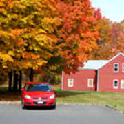 A Beautiful Country Building In The Fall 4 Art Print