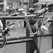 A Bicycle Parked At Fence, Netherlands Art Print
