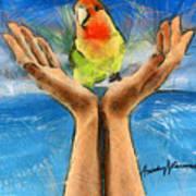 A Bird In Two Hands Art Print