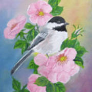 A Blackcapped Chickadee And Roses Art Print