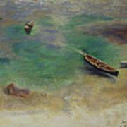 A Boat In The Waters Off Capri Art Print
