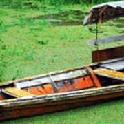 A Boat On Amazon Green Water Art Print