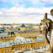 A Bored Gargoyle Sees Paris Art Print by Mark E Tisdale