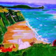 A Breezy Day At Rhosilli Bay Art Print