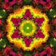 A Burst Of Flowers Kaleidoscope Art Print
