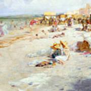 A Busy Beach In Summer Art Print