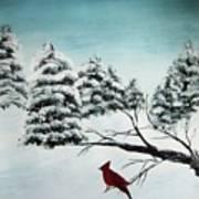 A Cardinals Perch Art Print