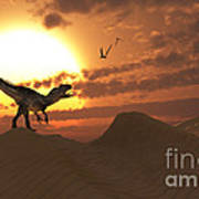 A Carnivorous Allosaurus Calling Art Print