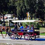 A Carriage Ride Through The Streets Of Katakolon Greece Art Print
