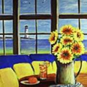 A Coastal Window Lighthouse View Art Print