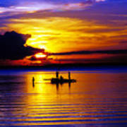 A Colorful Golden Fishermen Sunset Vertical Print Art Print