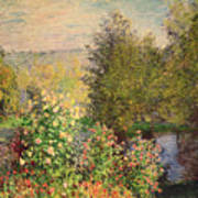 A Corner Of The Garden At Montgeron Print by Claude Monet