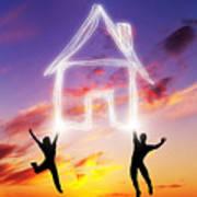A Couple Jump And Make A House Symbol Of Light Art Print