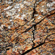 A Crack On A Brown Stone Block Art Print