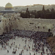 A Crowd Gathers Before The Wailing Wall Print by James L. Stanfield