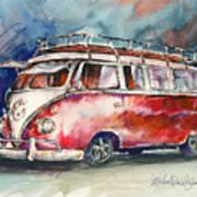 A Deluxe 15 Window Vw Bus Art Print
