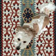A Dog In On A Rug Art Print