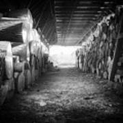 Farmer's Woodpile At Lusscroft Farm In Black And White Art Print