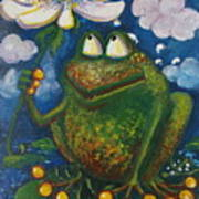 Frog In The Rain Art Print