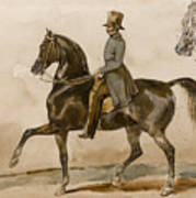 A Gentleman On Horseback With A Subsidiary Study Of The Horse's Head Art Print