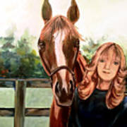Wide Eyed Girl And Her Horse Art Print