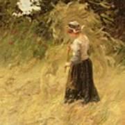 A Girl Harvesting Hay Art Print