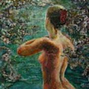 A Girl In Lake Art Print