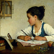 A Girl Writing. The Pet Goldfinch Art Print
