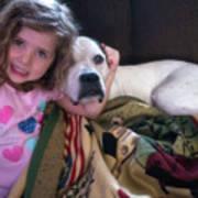 A Girlie-girl And Her Dog Art Print